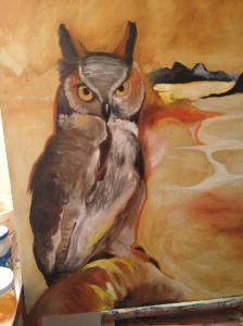 Beginning stages of an Owl Painting for my son Jarrod